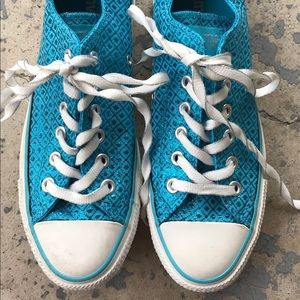 New! Converse Sparkly Blue Low-Tops